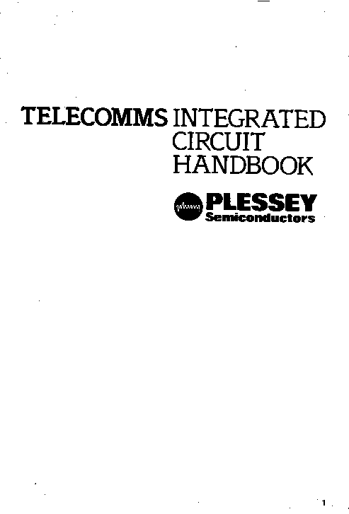 PLESSEY TELECOMMS IC 1984 HANDBOOK service manual (2nd page)