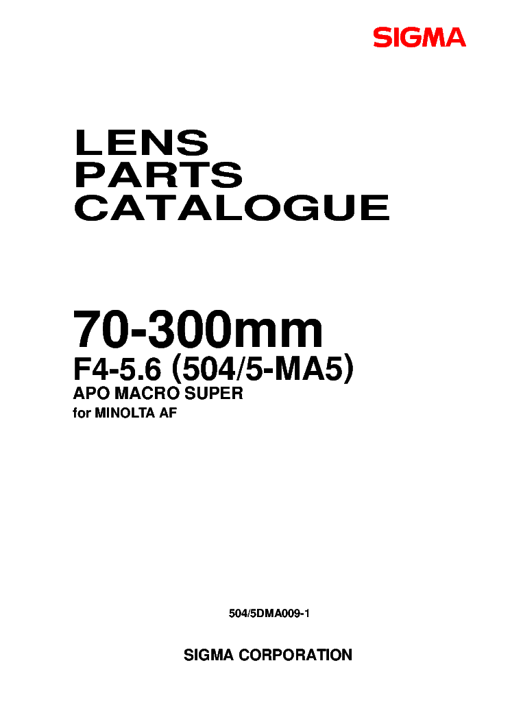 SIGMA 504 505-MA5 70-300MM CAMERA LENS FOR-MINOLTA-AF PARTS-LIST SM service manual (1st page)