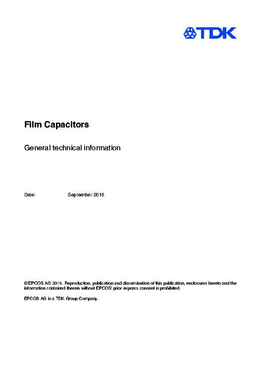 TDK CAPACITORS TECHNICAL INFO service manual (1st page)