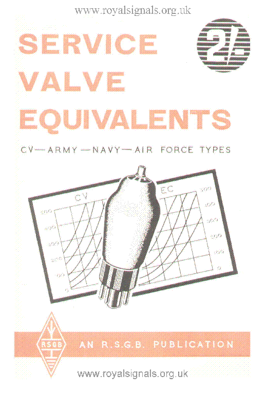 VALVE EQVUIVALENTS CV-NAVY-ARMY-AIR-FORCE RSGB 1960 service manual (2nd page)