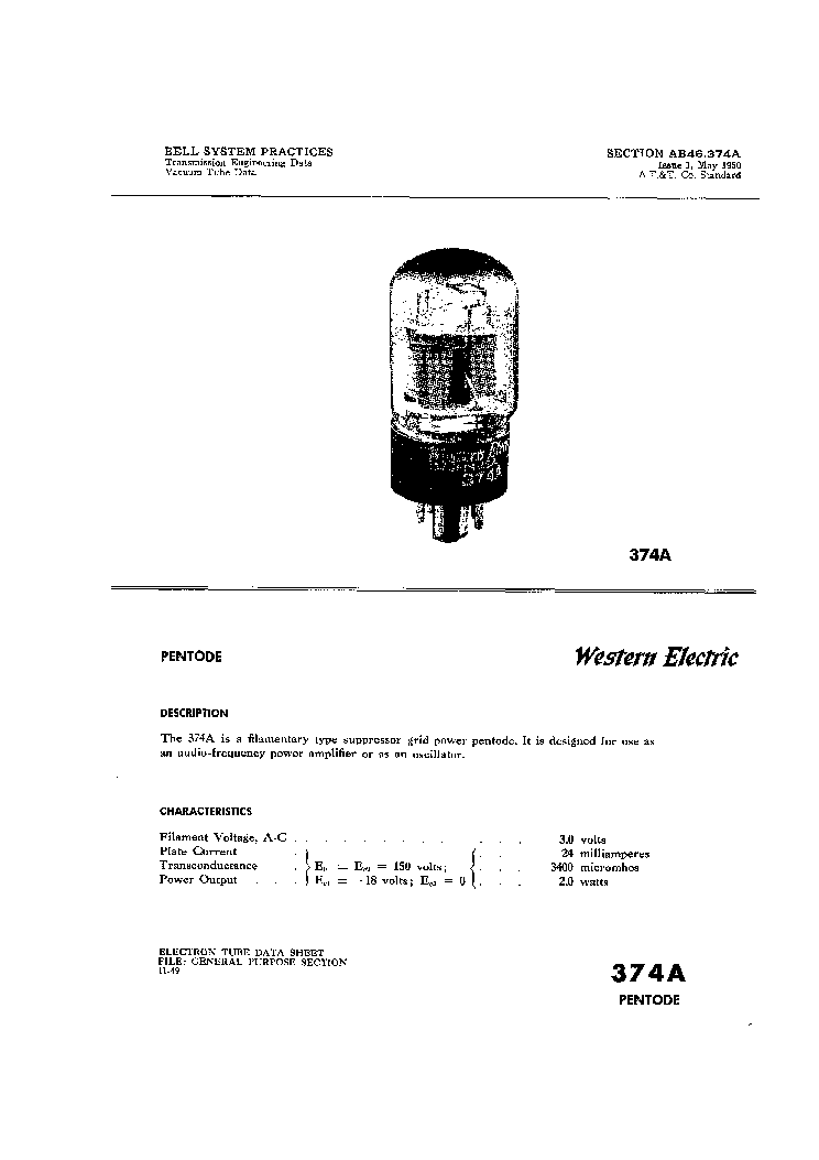 WESTERN ELECTRIC VACUUM TUBE DATA 1950 service manual (1st page)