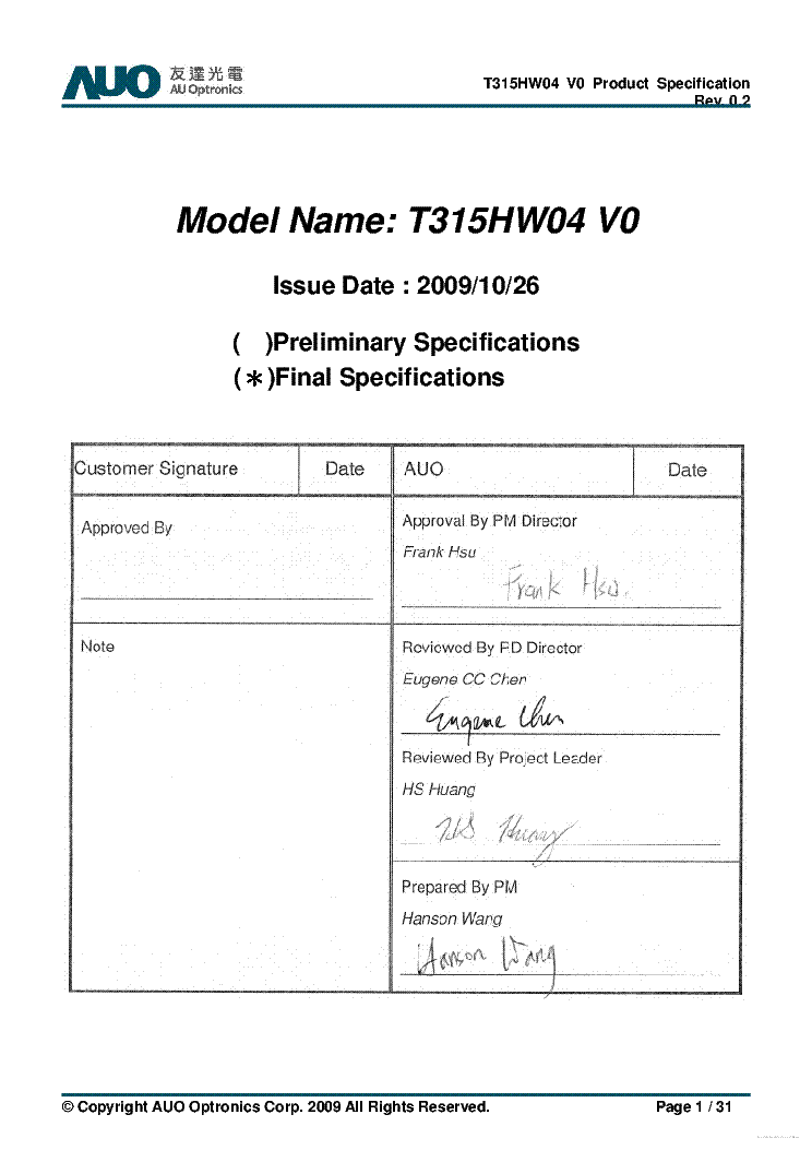 AUO T315HW04-V0 VER.0.2 DATASHEET service manual (1st page)