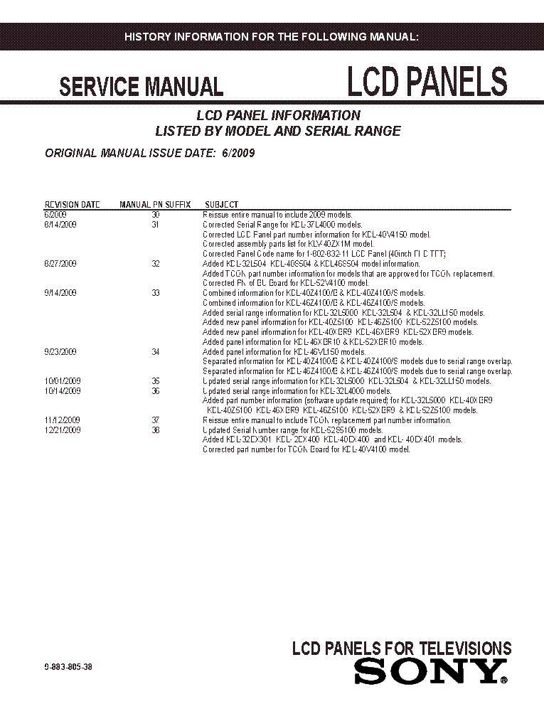 SONY LCD PANELS INFO 2009 MODELS SM-38 service manual (1st page)