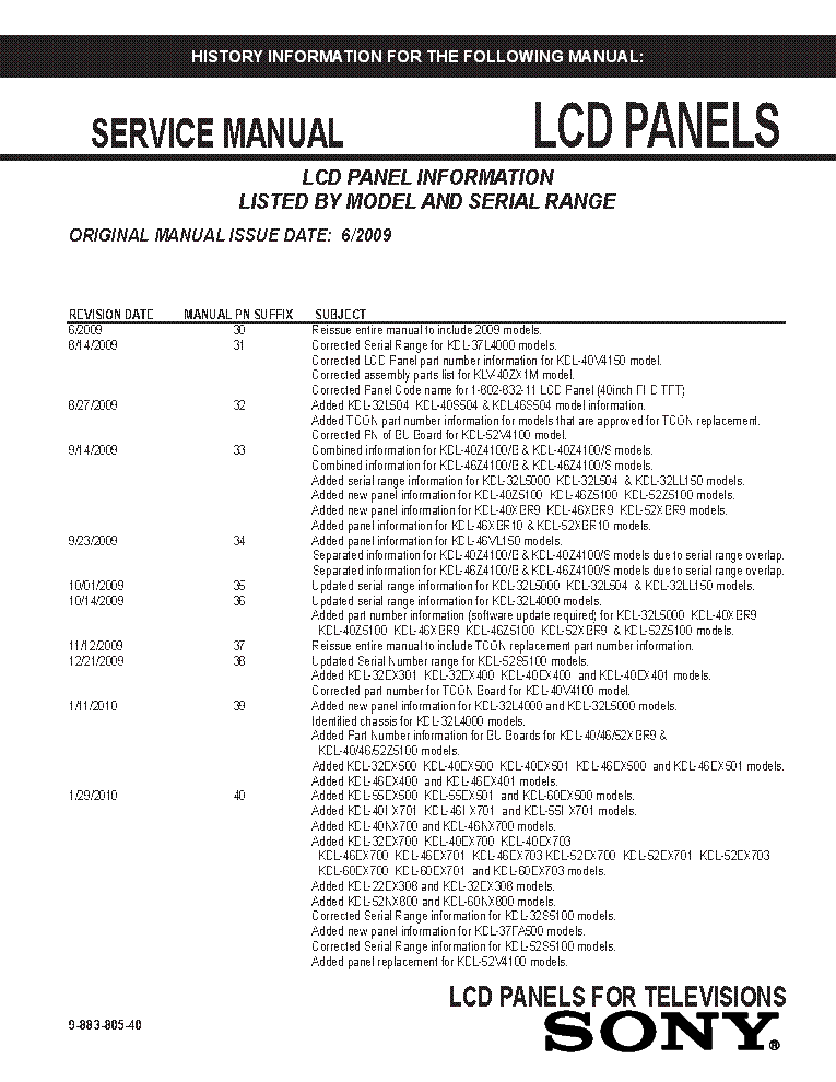 SONY LCD PANELS INFO 2009 MODELS SM-40 service manual (1st page)