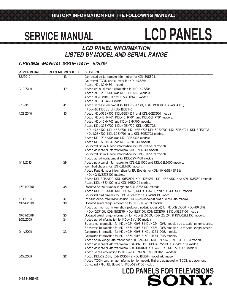 SONY LCD PANELS INFO 2009 MODELS SM-43 service manual (1st page)