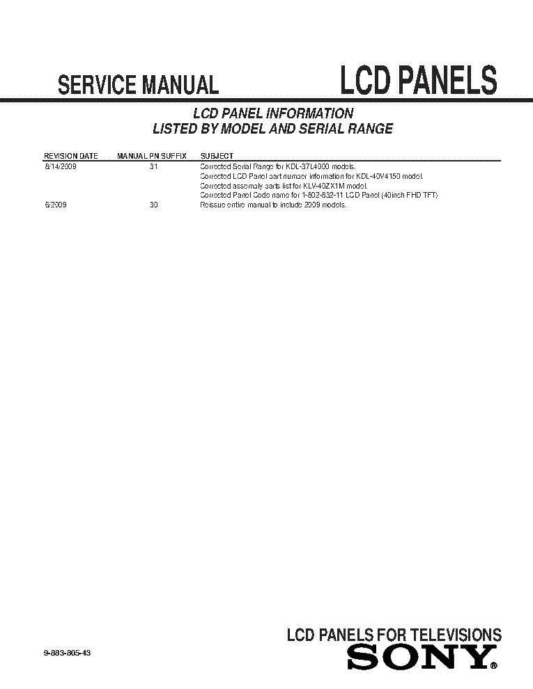 SONY LCD PANELS INFO 2009 MODELS SM-43 service manual (2nd page)