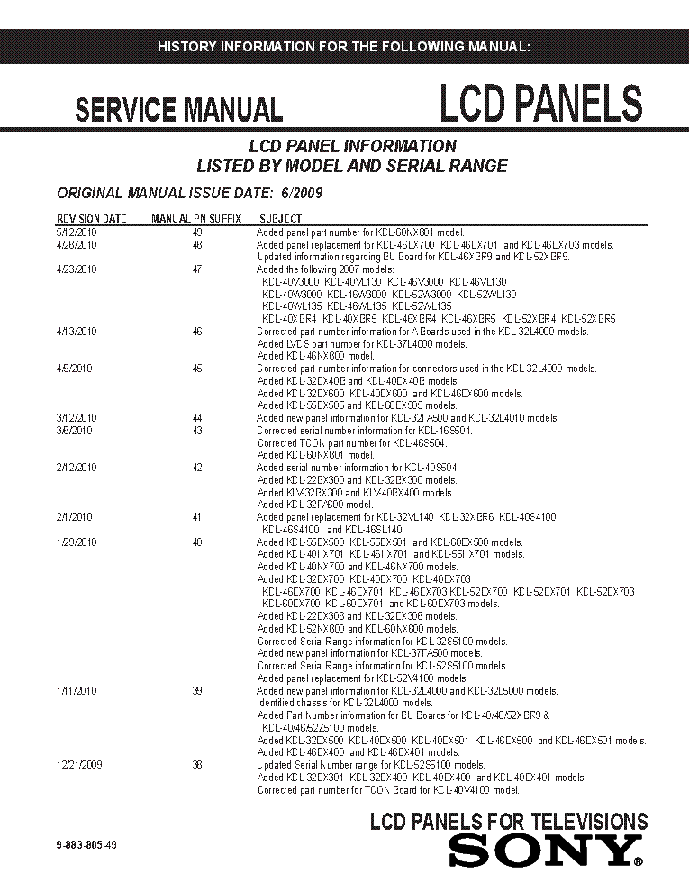 SONY LCD PANELS INFO 2009 MODELS SM-49 service manual (1st page)