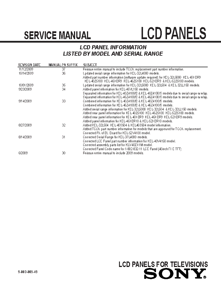 SONY LCD PANELS INFO 2009 MODELS SM-49 service manual (2nd page)