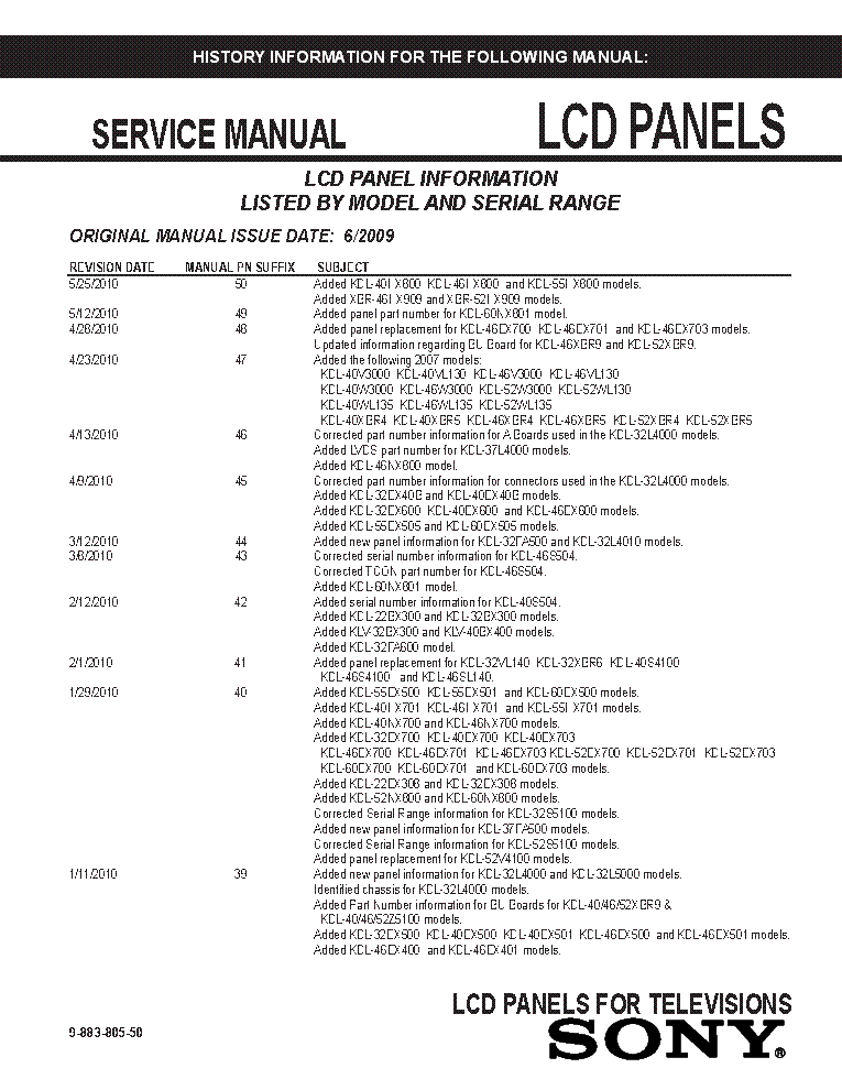 SONY LCD PANELS INFO 2009 MODELS SM-50 service manual (1st page)