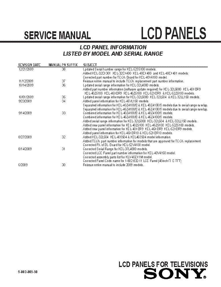 SONY LCD PANELS INFO 2009 MODELS SM-50 service manual (2nd page)