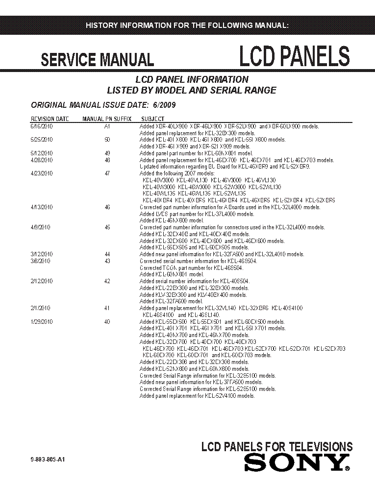 SONY LCD PANELS INFO 2009 MODELS SM-A1 service manual (1st page)