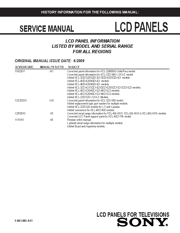 SONY LCD PANELS INFO 2009 MODELS SM-A11 service manual (1st page)