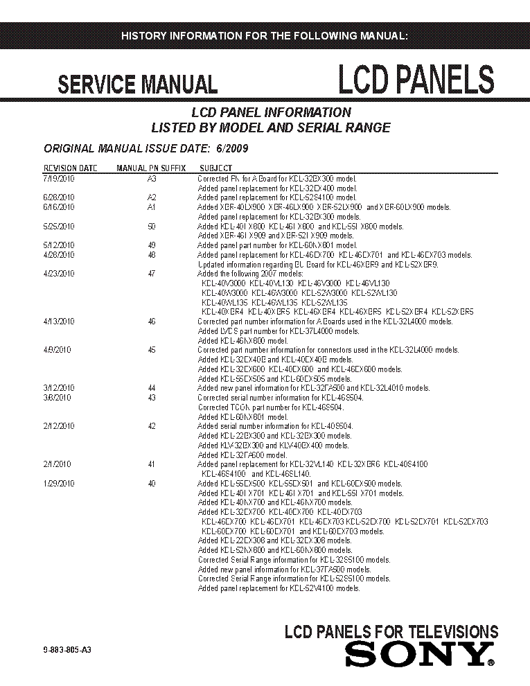SONY LCD PANELS INFO 2009 MODELS SM-A3 service manual (1st page)