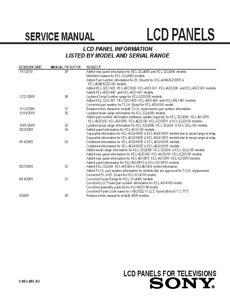 SONY LCD PANELS INFO 2009 MODELS SM-A3 service manual (2nd page)