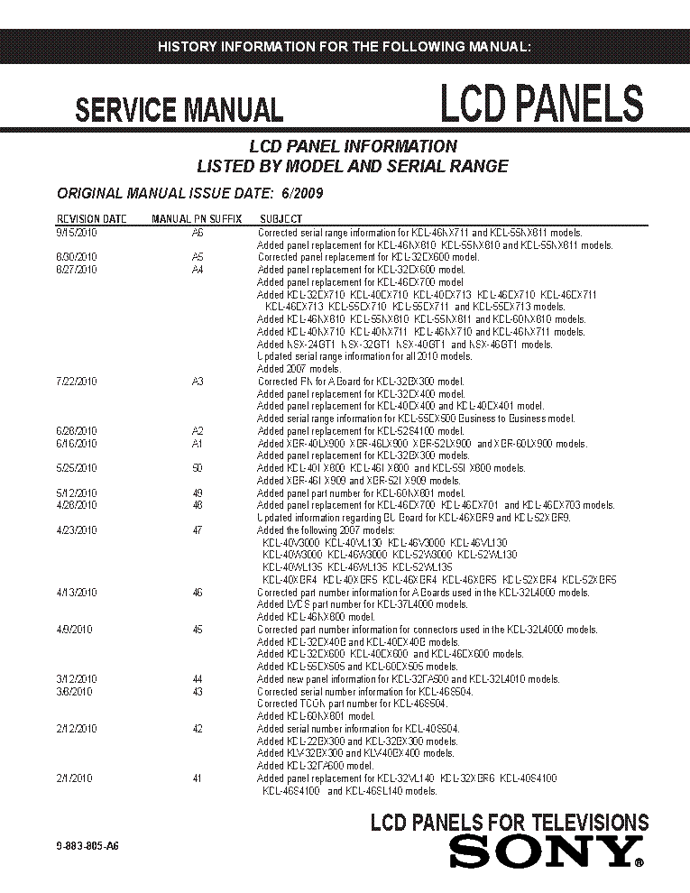 SONY LCD PANELS INFO 2009 MODELS SM-A6 service manual (1st page)