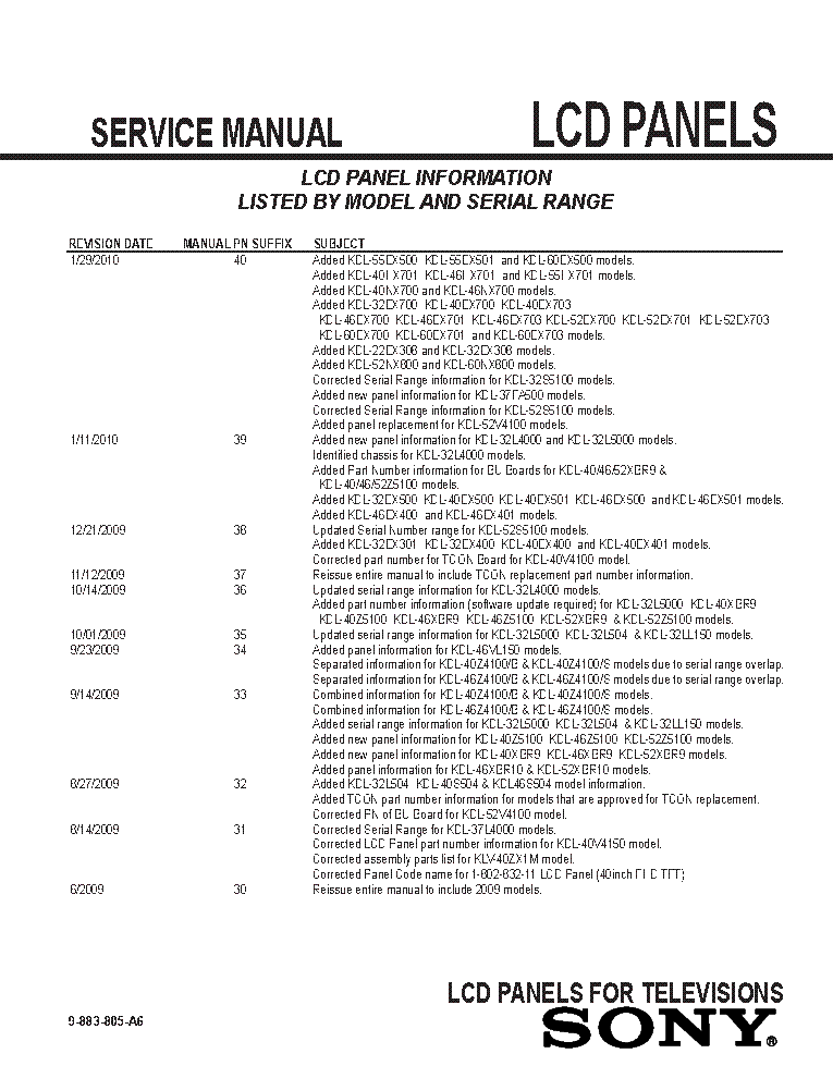 SONY LCD PANELS INFO 2009 MODELS SM-A6 service manual (2nd page)