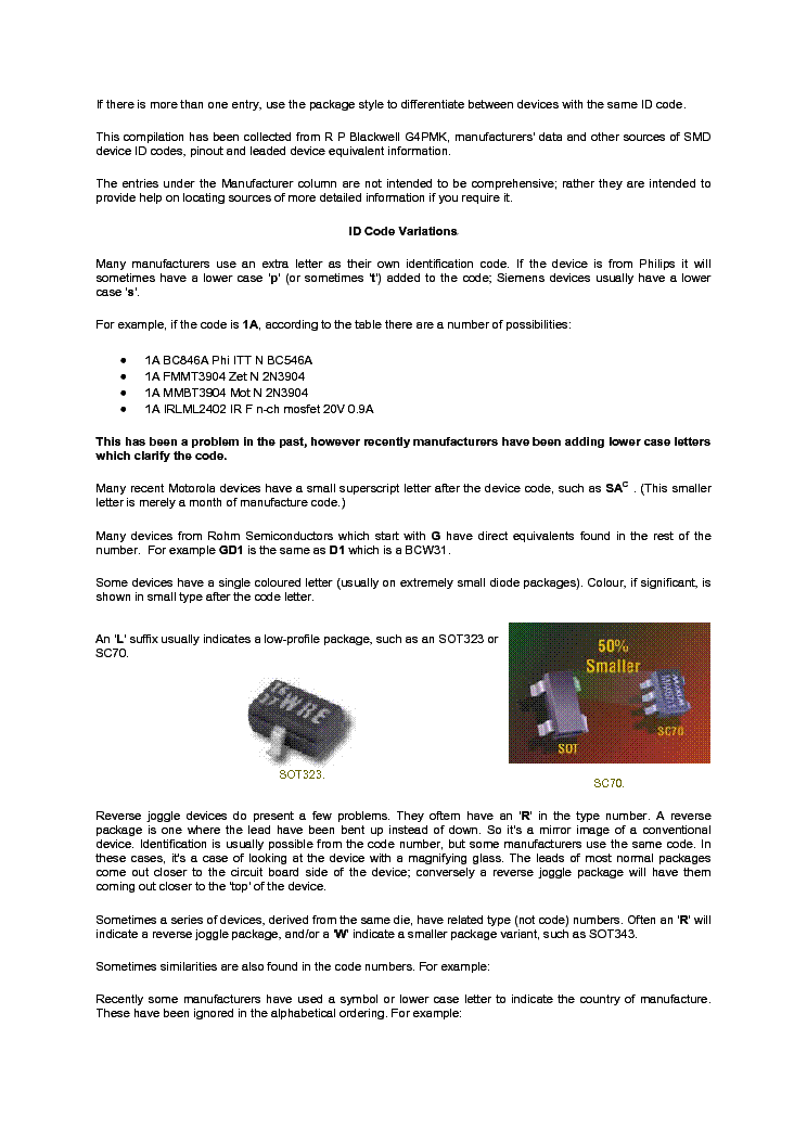 SMD CODE BOOK AND BASE PACKAGES service manual (2nd page)