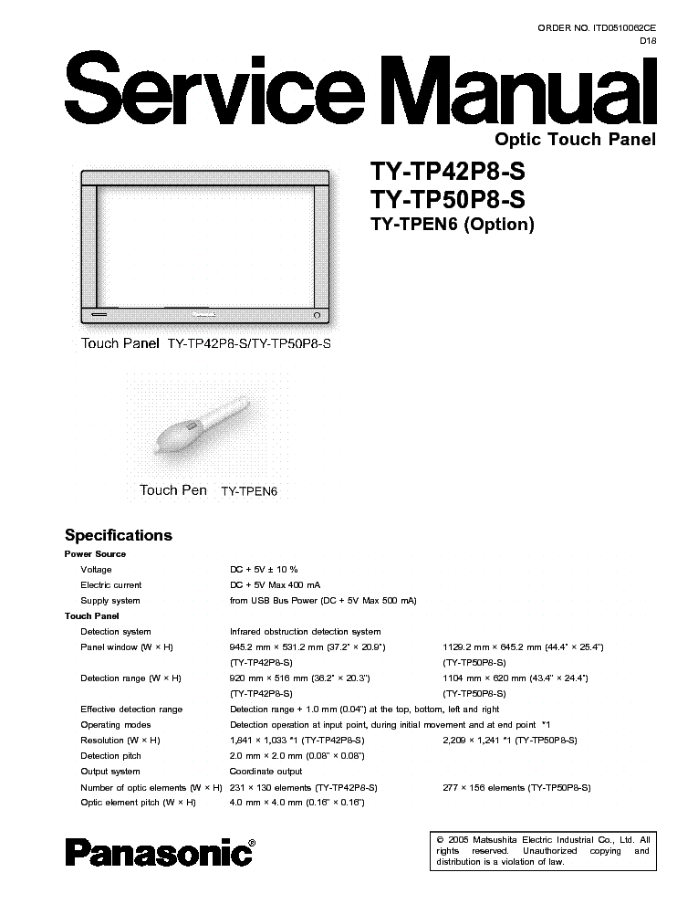 PANASONIC TY-TP42P8-S TY-TP50P8-S OPTIC TOUCH PANEL service manual (1st page)
