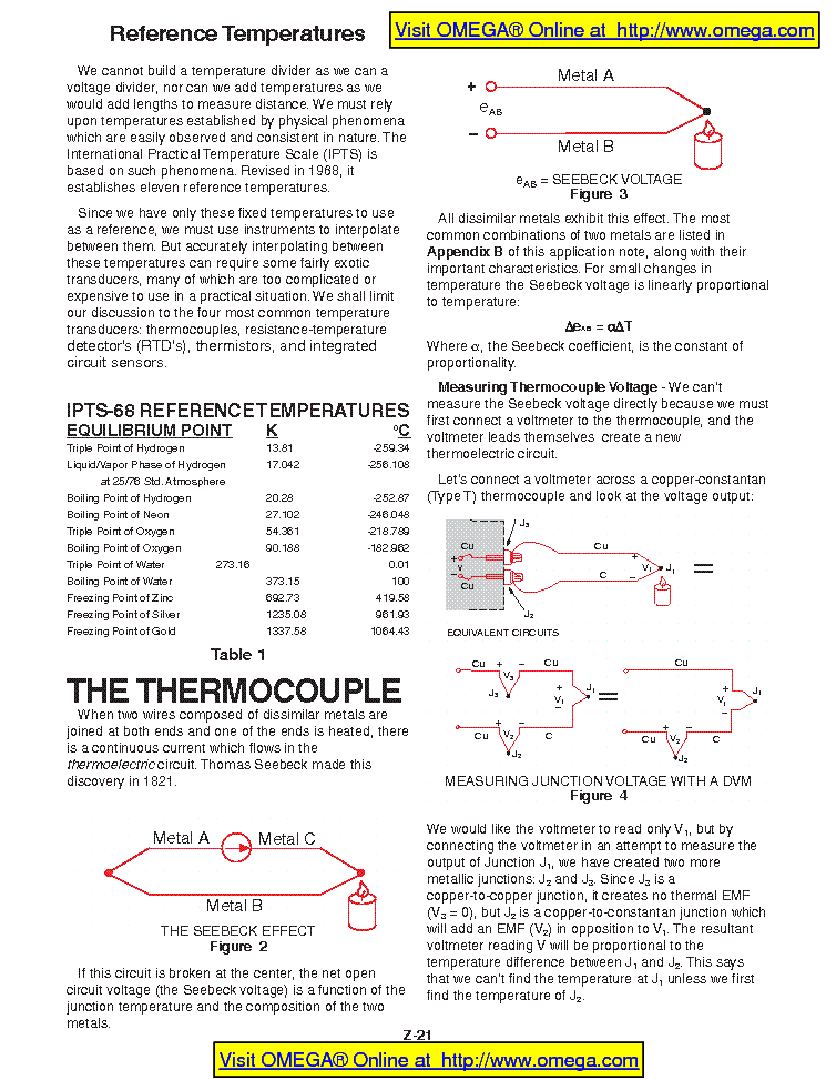 REFERENCE TEMPERATURES OMEGA service manual (1st page)