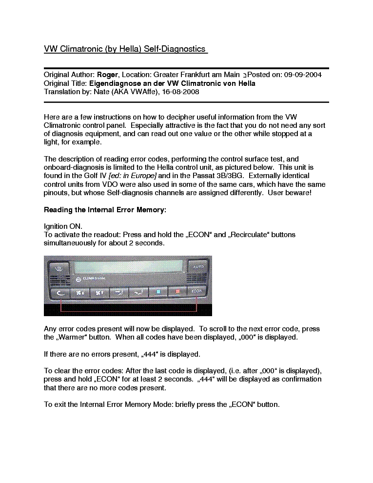 vw climatronic self diagnostics service manual download schematics rh elektrotanya com 2002 Volkswagen Passat 2004 Volkswagen Passat