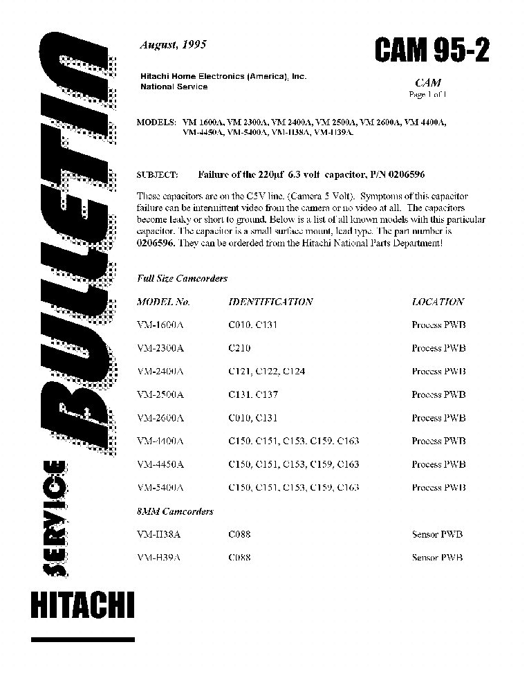 HITACHI VM-1600A 2300A 2400A 2500A 2600A 4400A 4450A 5400A H38A H39A 95-02SB-CAM service manual (1st page)