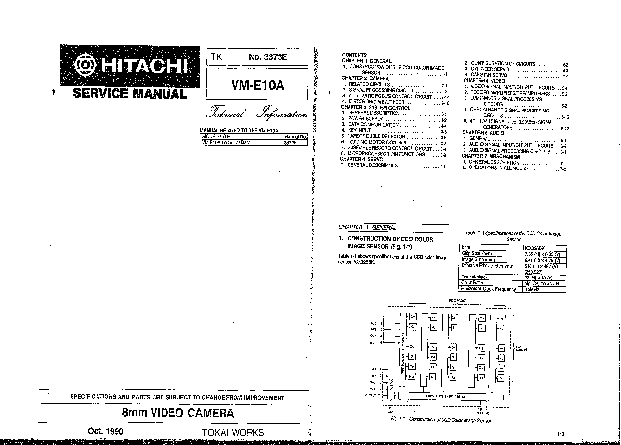 HITACHI VM-E10 TECH INFO service manual (1st page)