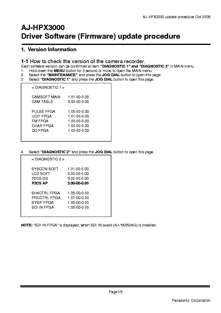 PANASONIC AJ-HPX3000 FIRMWARE UPDATE Service Manual download