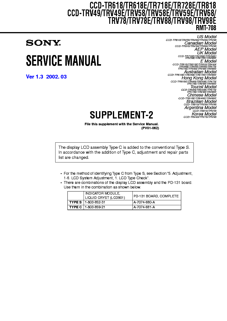 SONY CCD-TR618 TR718 TR728 TR818 TRV49 TRV58 TRV59 TRV68 TRV78 TRV88 TRV98 SUPP service manual (1st page)