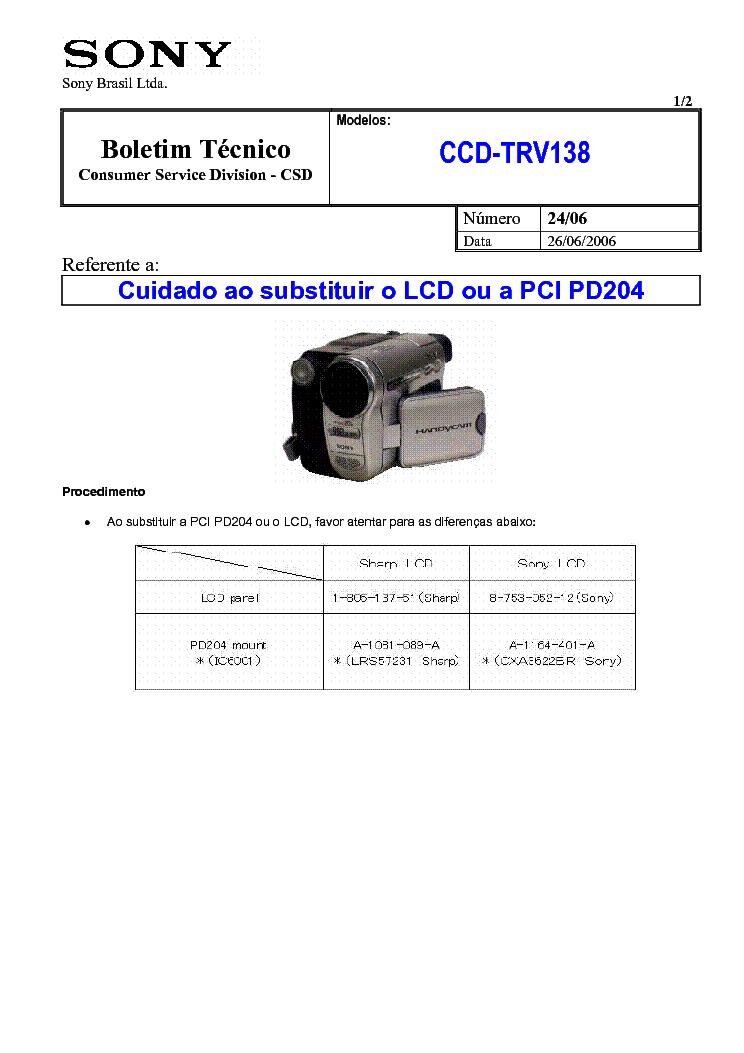 sony ccd trv138 2406 service info service manual download rh elektrotanya com sony handycam ccd-trv138 software download Sony Handycam CCD Camera Module