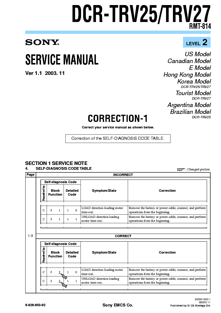 SONY DCR-TRV25 TRV27 CORR LEVEL2 VER1.1 service manual (1st page)
