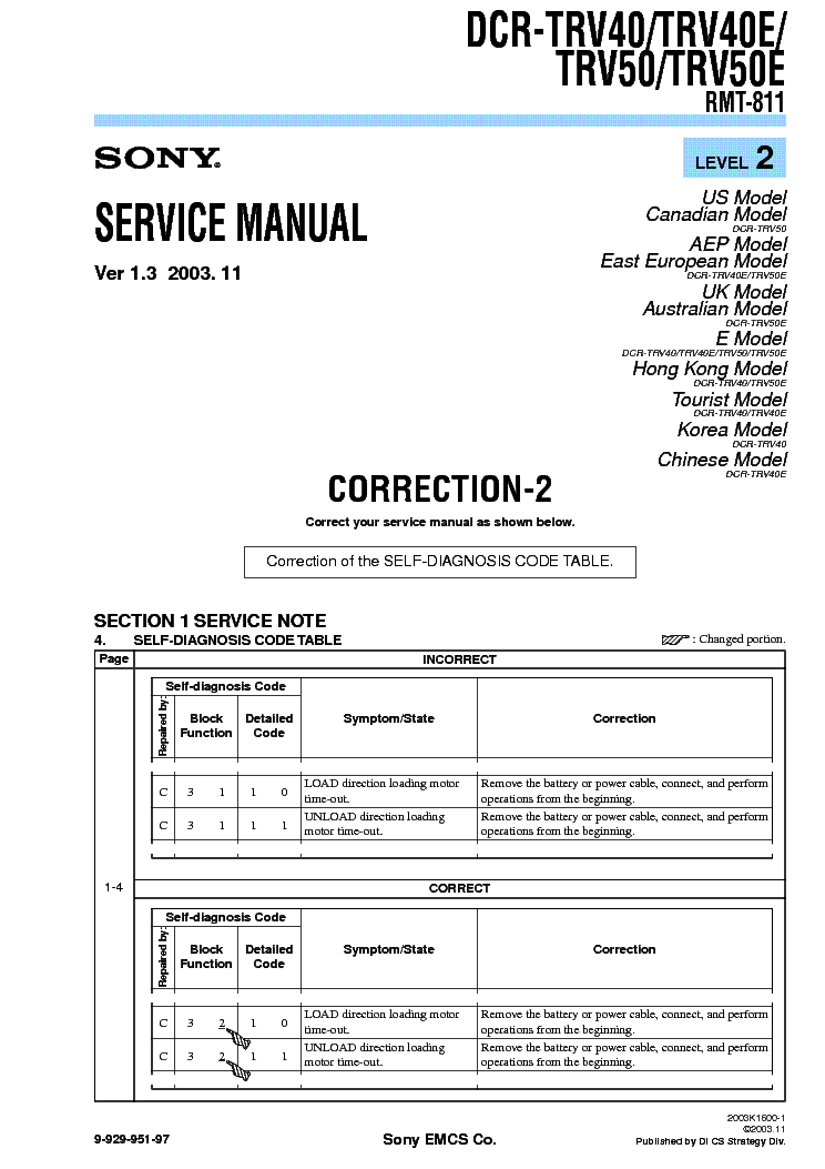 SONY DCR-TRV40 TRV50 CORR LEVEL2 VER1.3 service manual (1st page)
