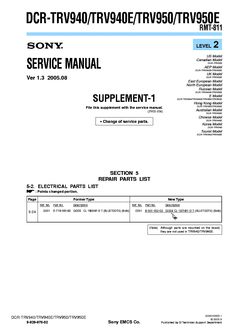 SONY DCR-TRV940 TRV950 SUPP LEVEL-2 VER-1.3 service manual (1st page)