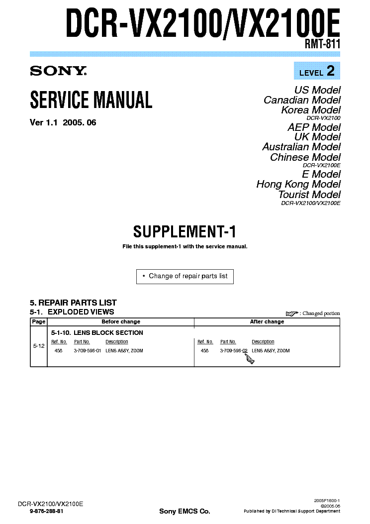 SONY DCR-VX2100 SUPP LEVEL2 VER1.1 service manual (1st page)