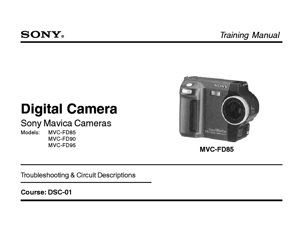 SONY DSC-01 DIGITAL MAVICA TRAINING MANUAL service manual (1st page)