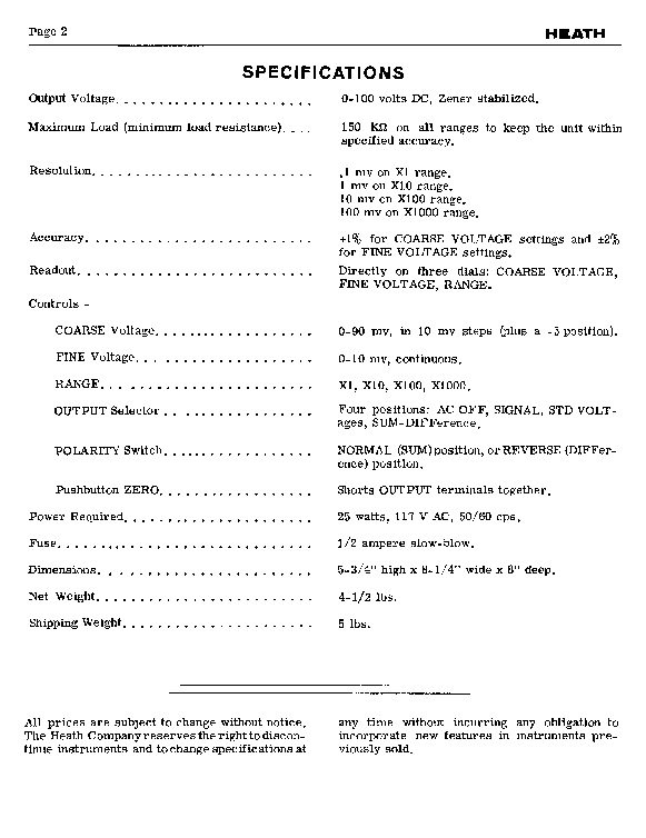HEATHKIT EUW-16 LINE VOLTAGE REFERENCE SOURCE SCH service manual (1st page)
