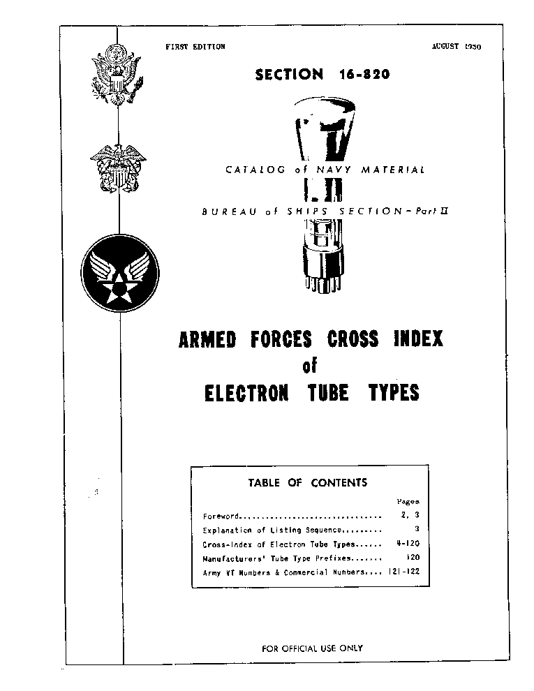 US ARMY ELECTRON TUBE CROSS INDEX service manual (1st page)