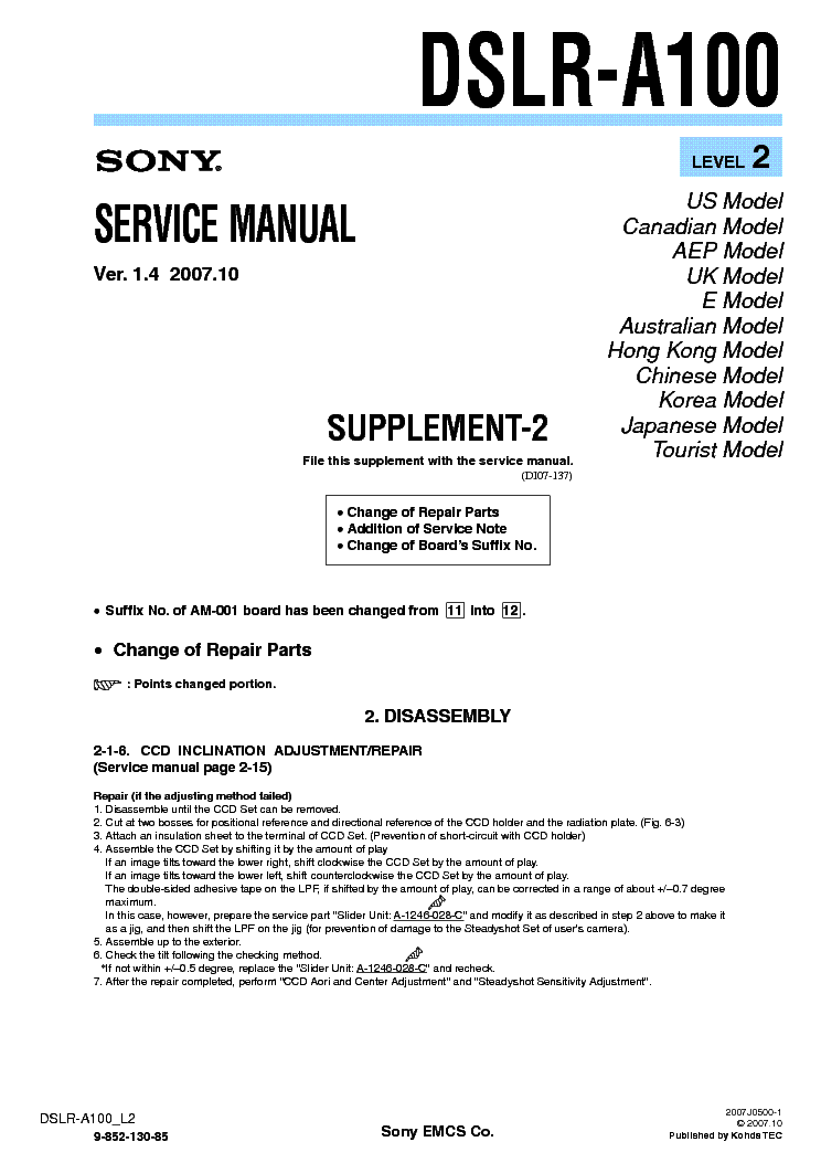 SONY DSLR-A100 SUPP LEVEL2 VER1.4 service manual