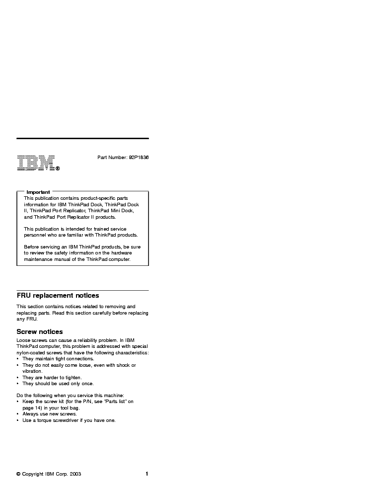 IBM LENOVO THINKPAD DOCK PORT REPLICATOR Service Manual download