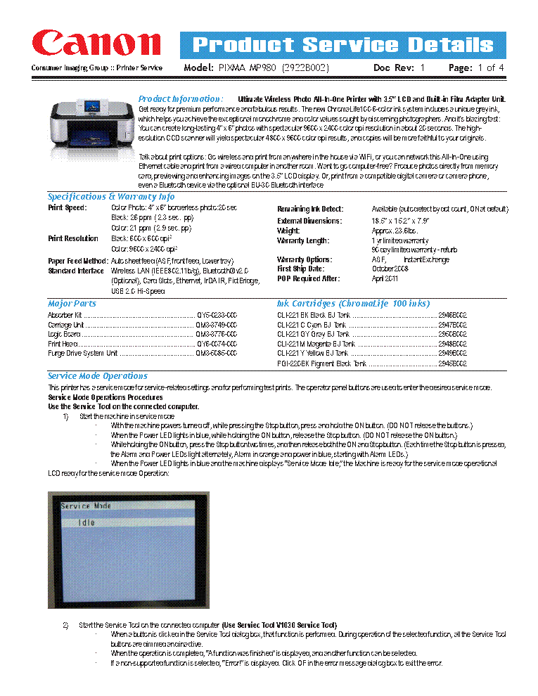 Canon Ip1000 Simplified Service Manual