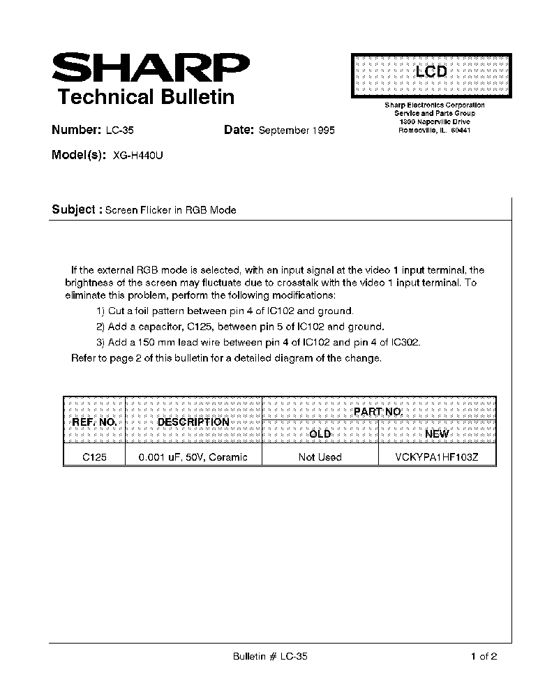 SHARP XG-H440U LC-035 TECH BULLETIN service manual (1st page)