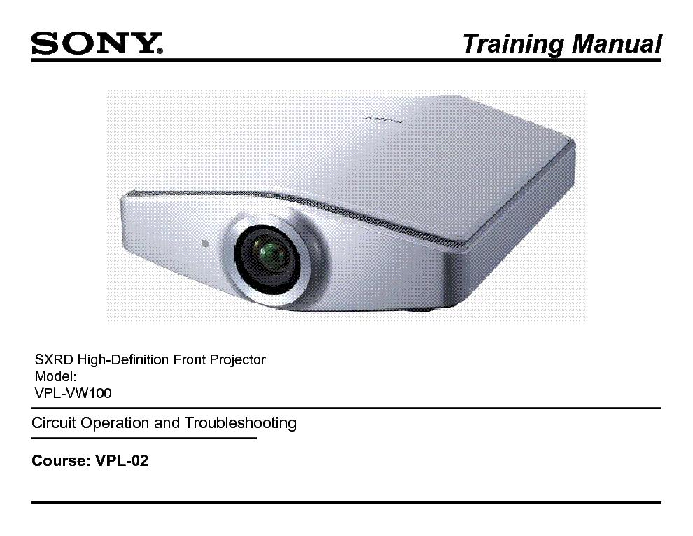 sony vpl 02 sxrd front projector training manual service manual rh elektrotanya com sony 3lcd projector manual sony projector hw40es manual