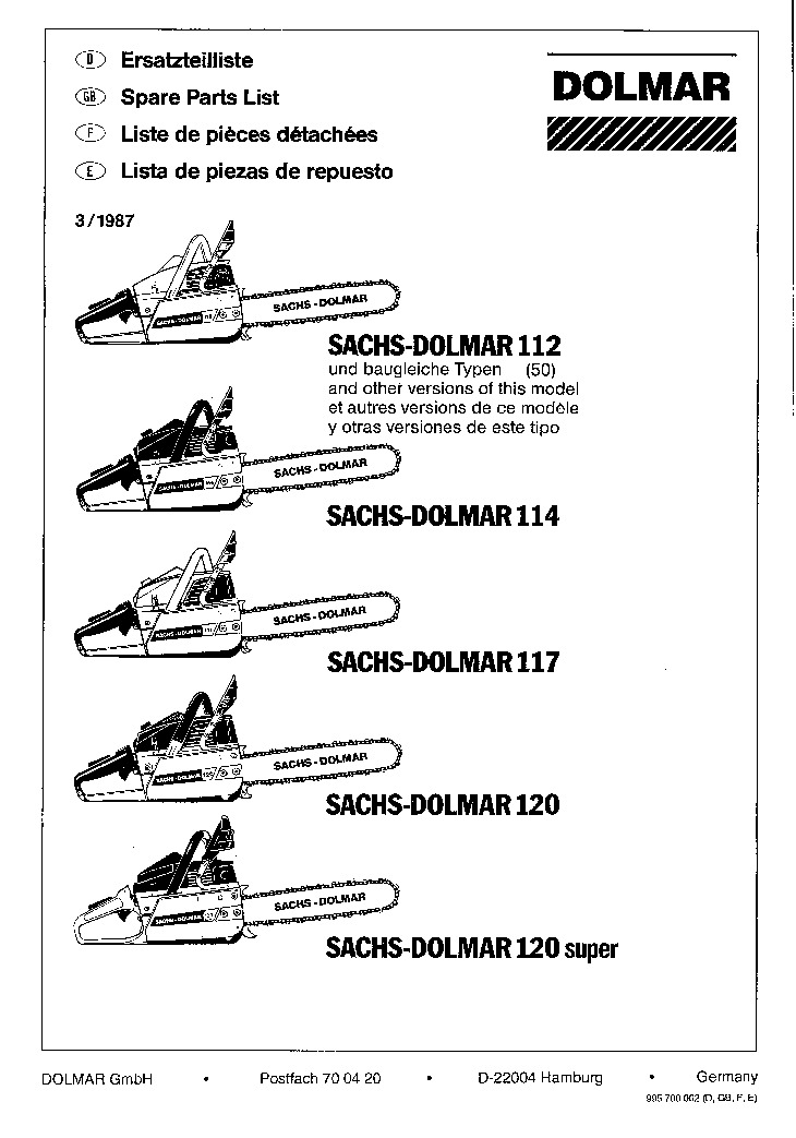 sachs dolmar 112 114 117 119 120 120 super chainsaw spare parts list