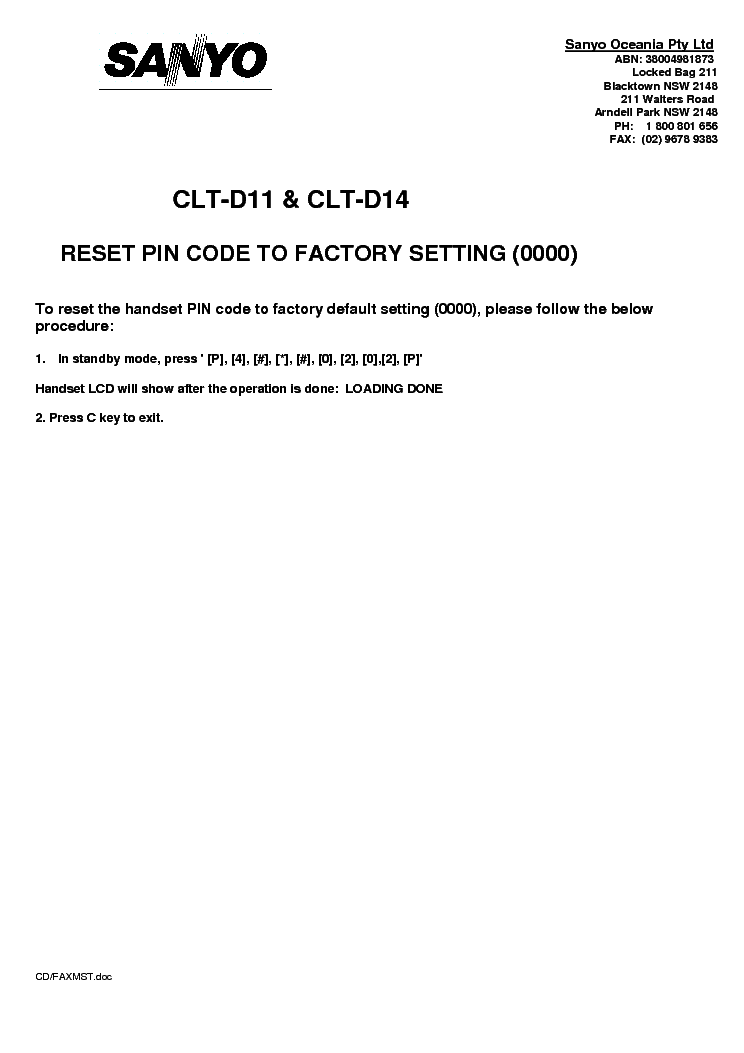 SANYO CLT-D11 CLT-D14 RESETTING TO FACTORY DEFAULT service manual (1st page)