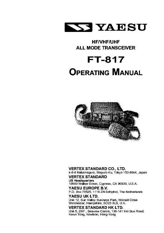 Yaesu ft 817 operation installation service manual download yaesu ft 817 operation installation service manual 1st page publicscrutiny Image collections