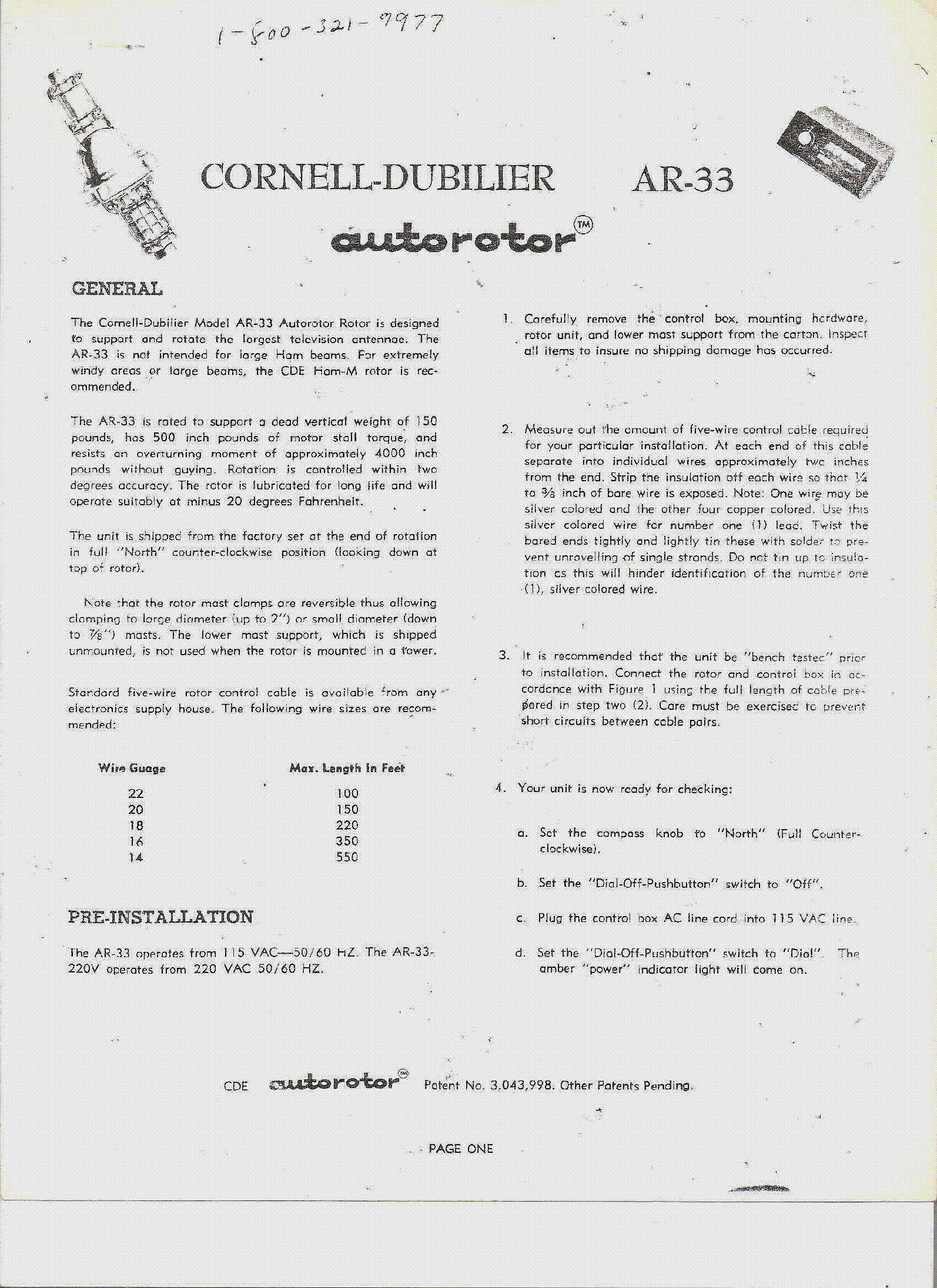 CORNELL-DUBILIER AUTOROTOR AR-33 1976 ANTENNAFORGATO SM service manual (1st  page)
