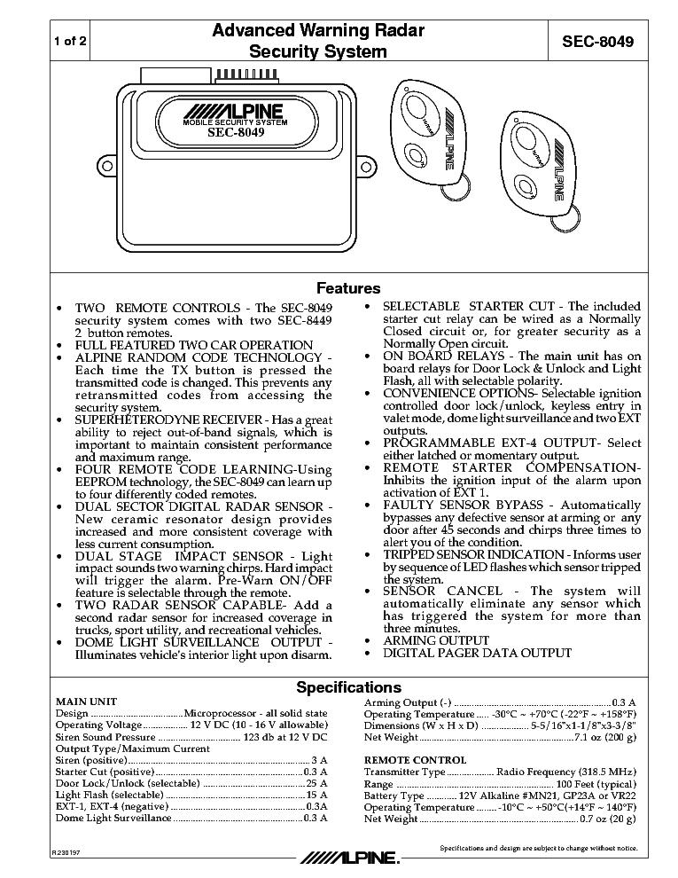 code alarm remote start manual