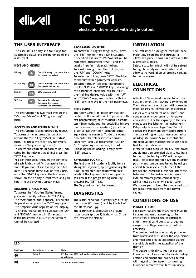 eliwell ic901 instruction manual