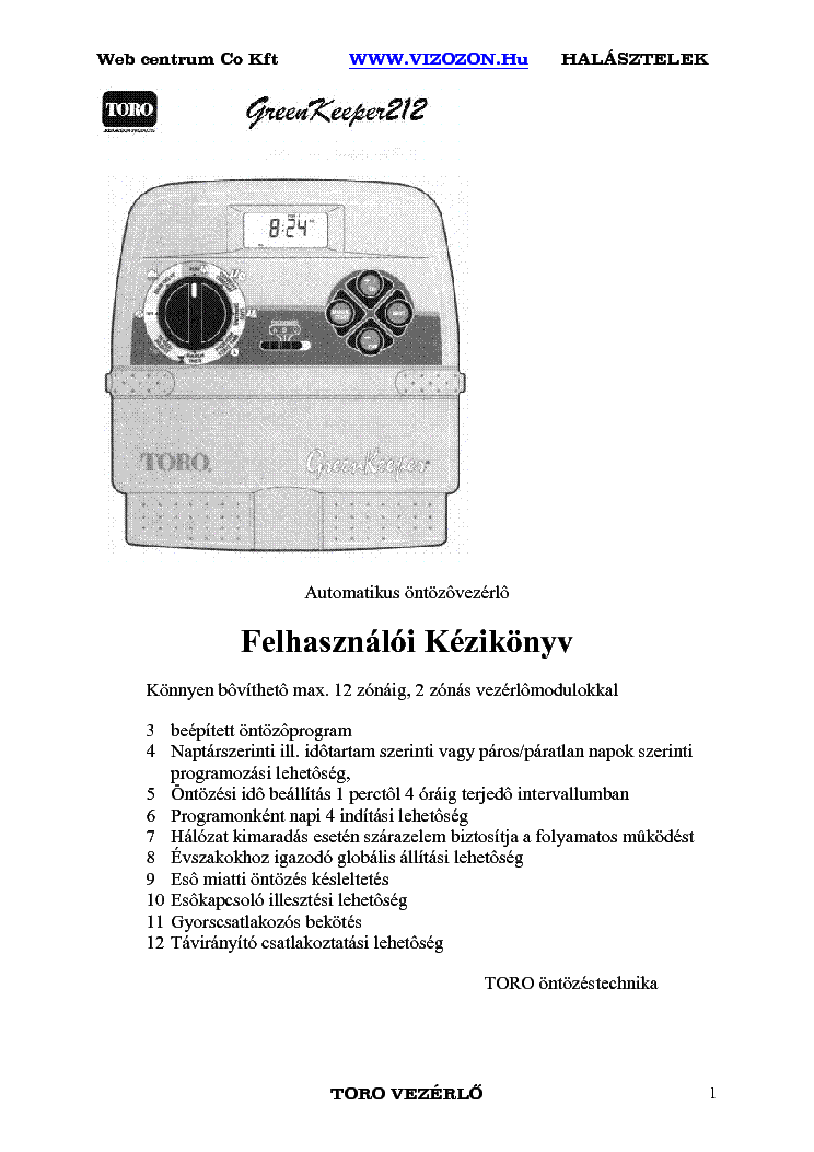 toro green keeper gk212 automatikus ontozovezerlo felhasznaloi service  manual (1st page)