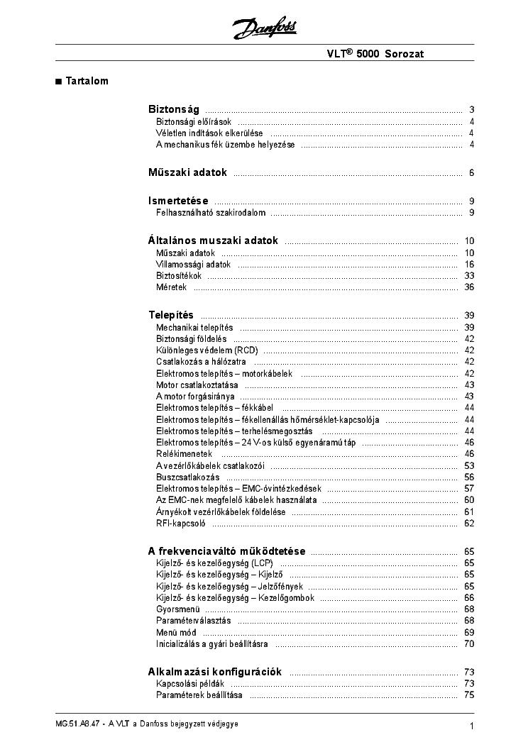 DANFOSS VLT6000-SERIES FREQUENCY INVERTER HU Service Manual ... on