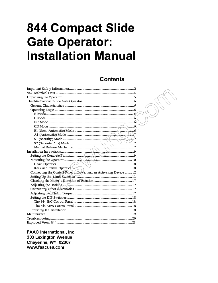 faac 844im_securitex_installation_manual_eng.pdf_1 faac 844t rev b gb service manual download, schematics, eeprom faac 844 wiring diagram at soozxer.org